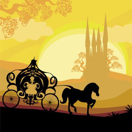 castello medievale: Silhouette di una carrozza a cavalli e un castello medievale