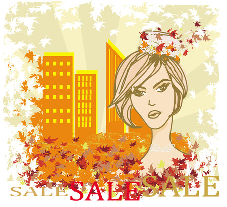 autumn Sale girl, banner Vector