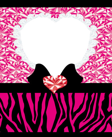 pink backgrounds: invitation cards template with abstract Diamond hearts and zebra print. Illustration