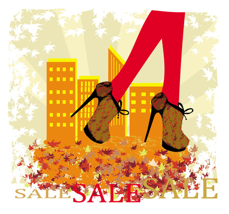 zapatos caricatura: otoño Bandera de la venta