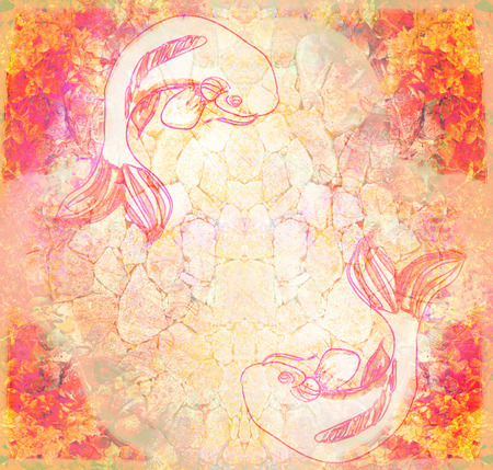 Japanese koi fish grunge background