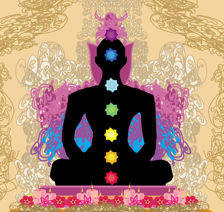 Yoga lotus pose. Padmasana with chakra points.  Vector