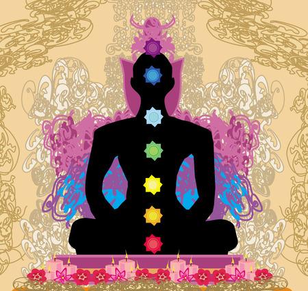 yogi aura: Yoga lotus pose. Padmasana with chakra points.