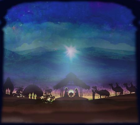 Bijbelse scène - de geboorte van Jezus in Bethlehem. Stockfoto - 31614877