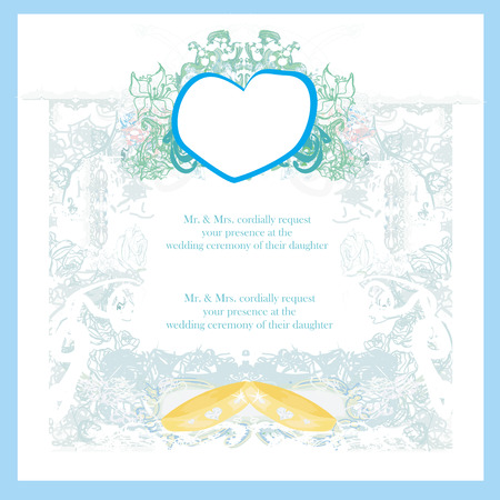 vintage wedding card with rings  Vector