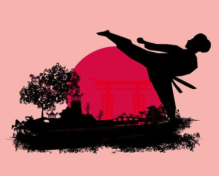 kumite: karate Grunge card