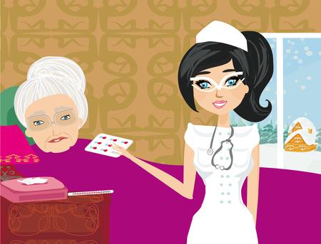 sitter: nurse takes care of a sick elderly lady Illustration