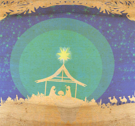 star of bethlehem: Biblical scene - birth of Jesus in Bethlehem.