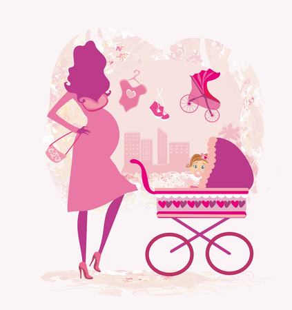 awaiting: pregnant woman pushing a stroller, abstract illustration