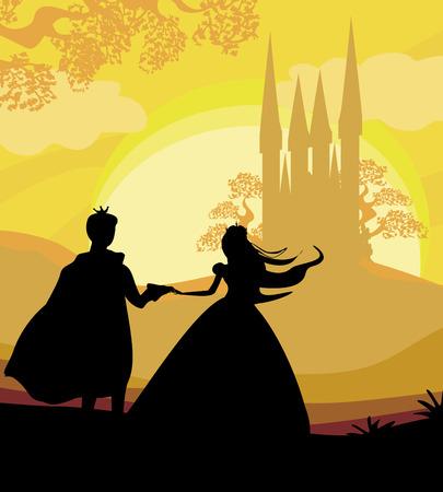 castillos de princesas: Castillo mágico y la princesa con el príncipe Vectores