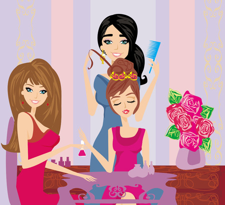 Vector illustration of the beautiful woman in beauty salon Vector