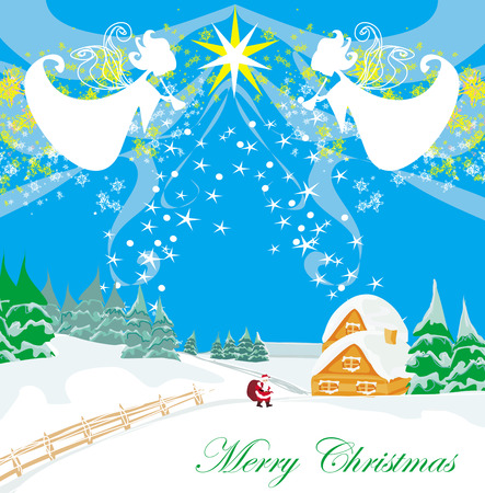 Winter landscape with angels and Santa Vector