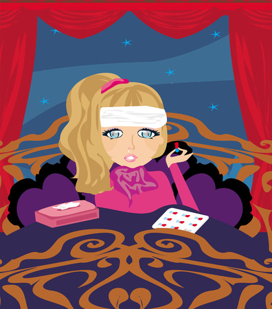 lying in bed: sick girl lying in bed Illustration