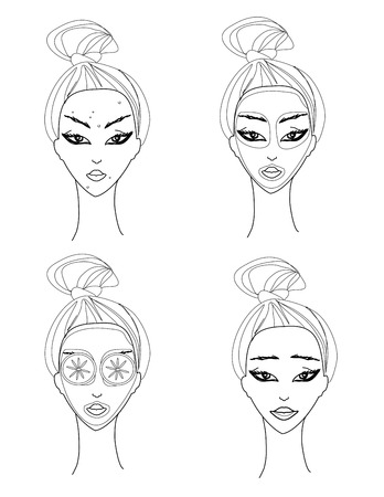 hair mask: woman applying moisturizer illustration Illustration