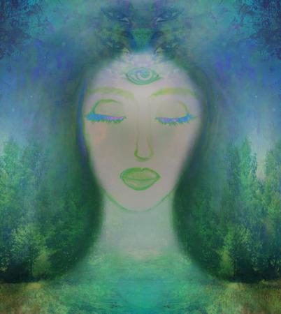 Frau mit drittes Auge, spürt psychische supernatural Standard-Bild - 33164664