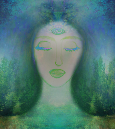 psychisch: Vrouw met derde oog, psychic supernatural zintuigen Stockfoto