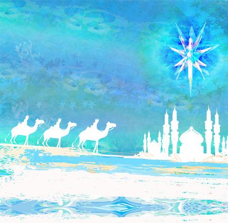 Classic three wise men scene and shining star of Bethlehem photo