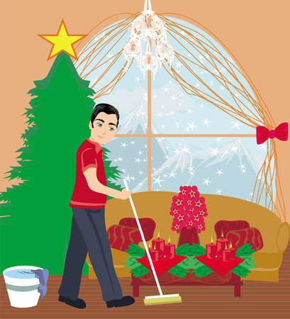 cleaning the house: young man cleaning house before Christmas