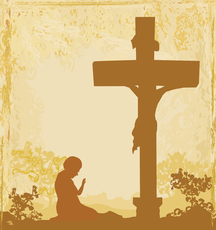 golgotha: prayers by the cross, grunge background
