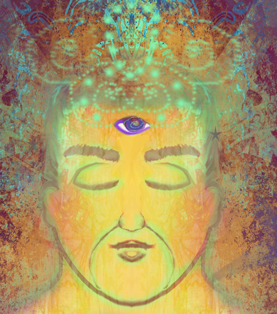 man with third eye, psychic supernatural senses Stock Photo
