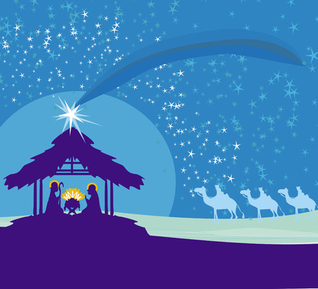 nativity: Biblical scene - birth of Jesus in Bethlehem. Illustration