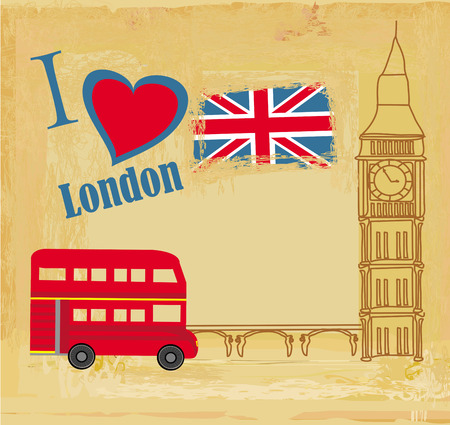 grunge card with icons of London Vector