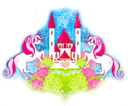 Card with a cute unicorns and fairy-tale princess castle photo