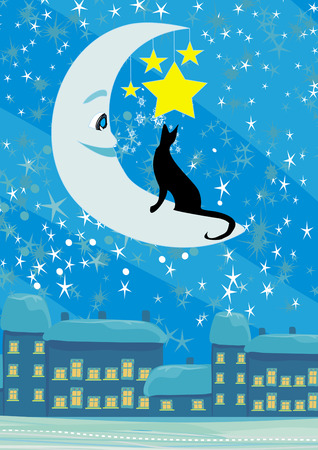 cat sitting on the moon in the night sky Vector