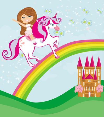 girl on a unicorn flying on a rainbow Vector