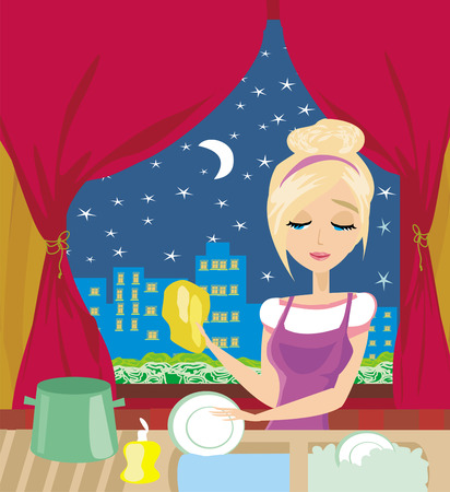 housewife washing the dishes at night Vector
