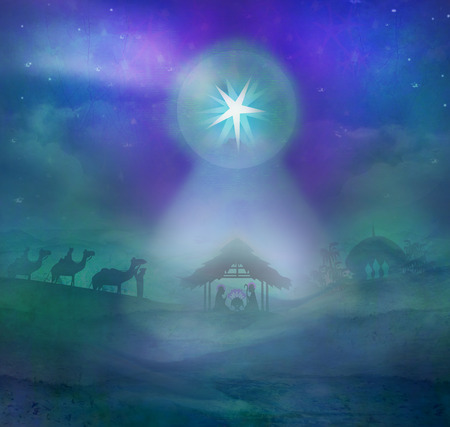 nativity: Biblical scene - birth of Jesus in Bethlehem. Stock Photo