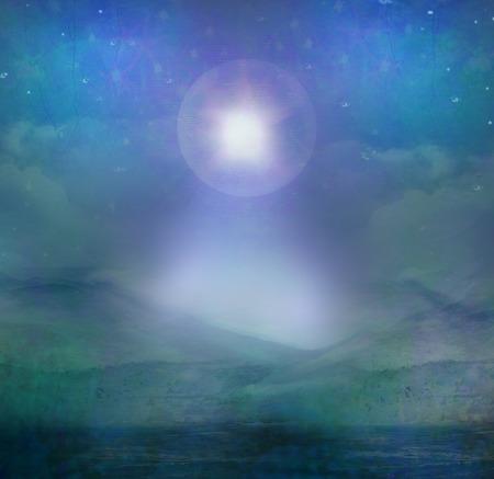 Star of Bethlehem illustration of the star over the desert
