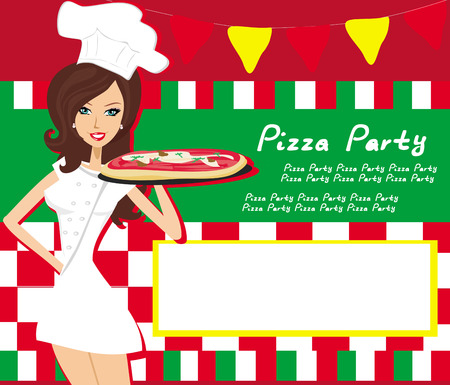 italian flag: smiling waitress serving pizza, place for your text Illustration
