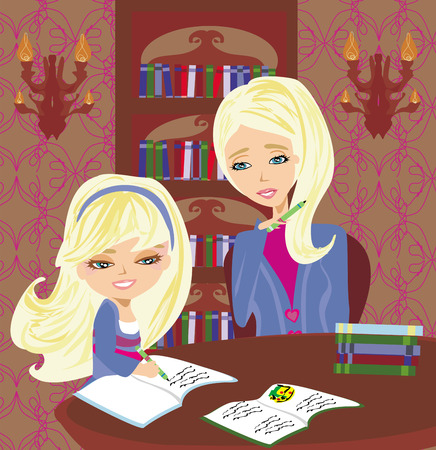 schoolwork: Mom helping her daughter with homework or schoolwork at home. Illustration