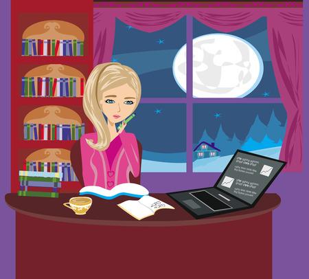 illustration of girl doing homework Vector