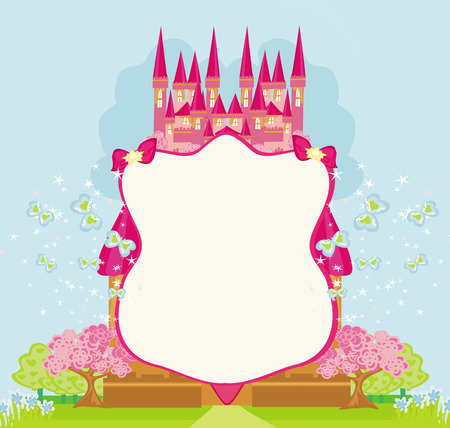 Schöne Märchen rosa schloss Rahmen Standard-Bild - 33882524