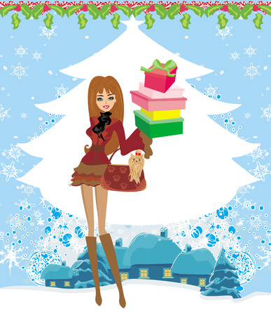 snowbank: Christmas shopping on a snowy day Illustration
