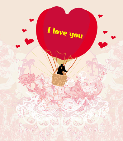 Hot Air Balloon - Valentine card Vector