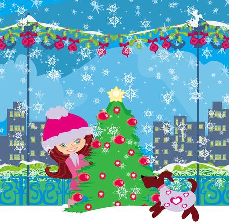 winter girl: winter girl and her dog Illustration