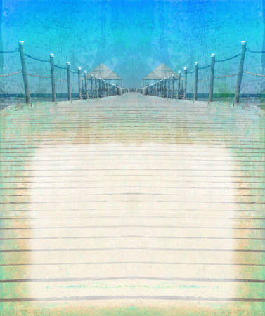 footbridge: Perspective view of wooden pier - vintage frame Stock Photo