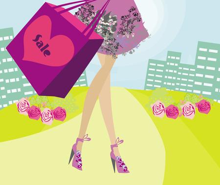 zapatos caricatura: compras Tarjeta de venta chica