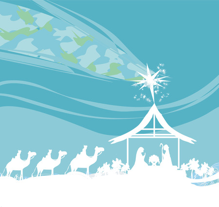 christmas religious: Biblical scene - birth of Jesus in Bethlehem. Illustration