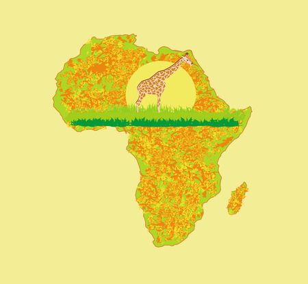 flora fauna: grunge background with African fauna and flora