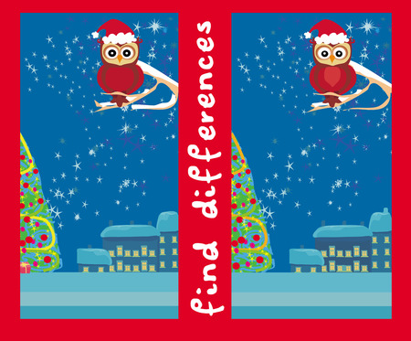 Winter card with cute owl , find the differences Vector