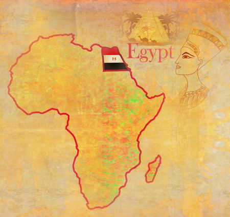 actual: egypt on actual vintage political map of africa Stock Photo