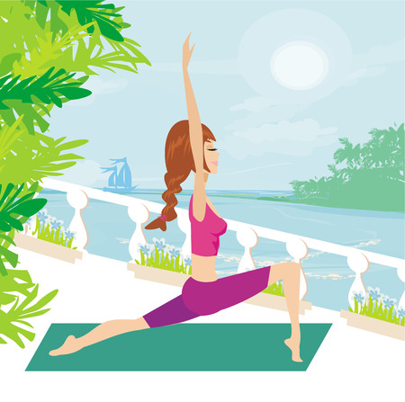 breathing exercise: Woman in pose practicing yoga Illustration