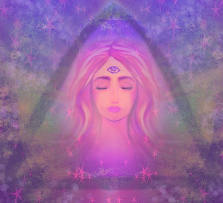mujer meditando: Mujer con tercer ojo, psíquico sobrenatural sentidos