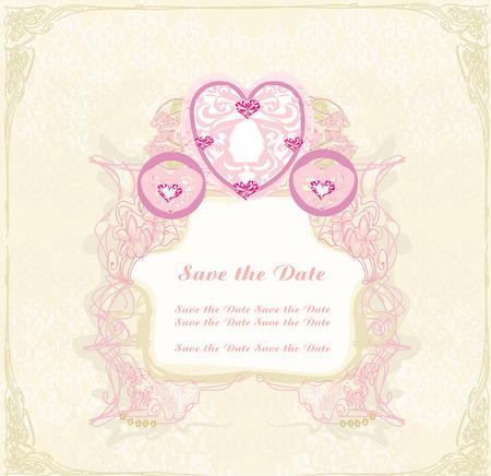 vintage floral carriage invitation Illustration