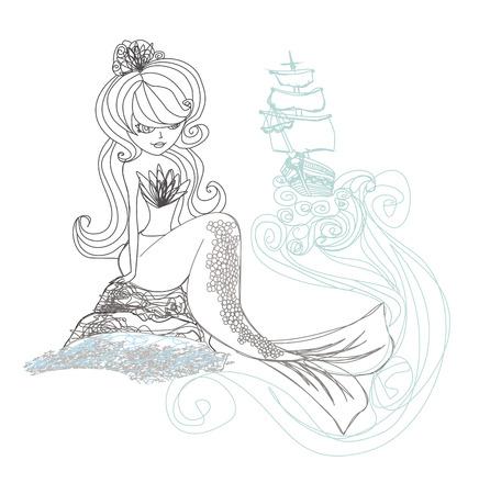 Beautiful mermaid - doodle illustration Vector
