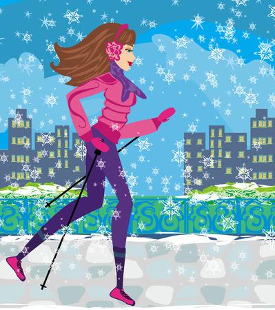 mujer ejercitandose: Nordic Walking - Mujer ejercicio activo en invierno